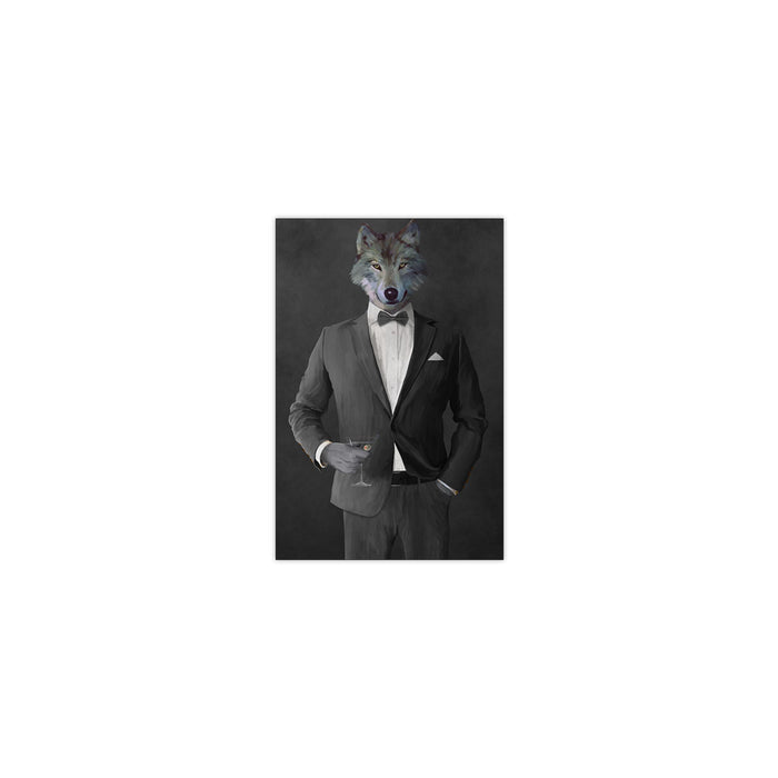 Wolf drinking martini wearing gray suit small wall art print