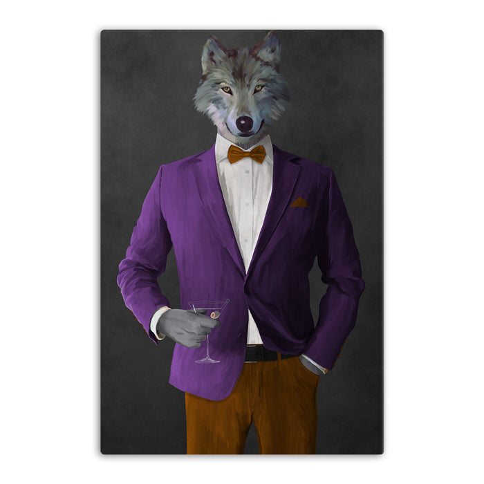 Wolf drinking martini wearing purple and orange suit canvas wall art