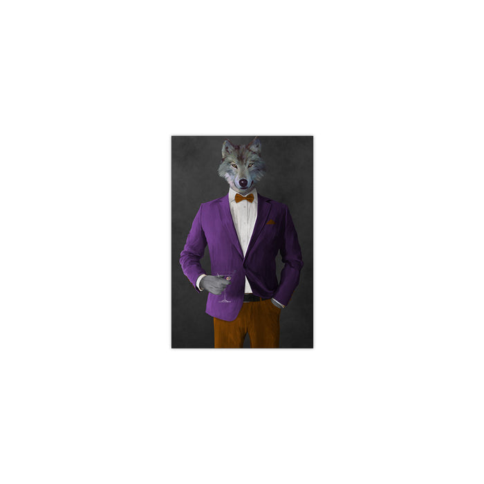 Wolf drinking martini wearing purple and orange suit small wall art print