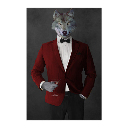 Wolf drinking martini wearing red and black suit large wall art print