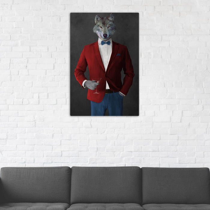 Wolf Drinking Martini Wall Art - Red and Blue Suit