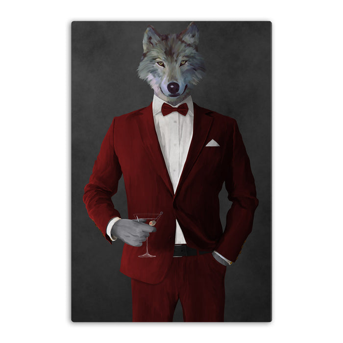 Wolf drinking martini wearing red suit canvas wall art