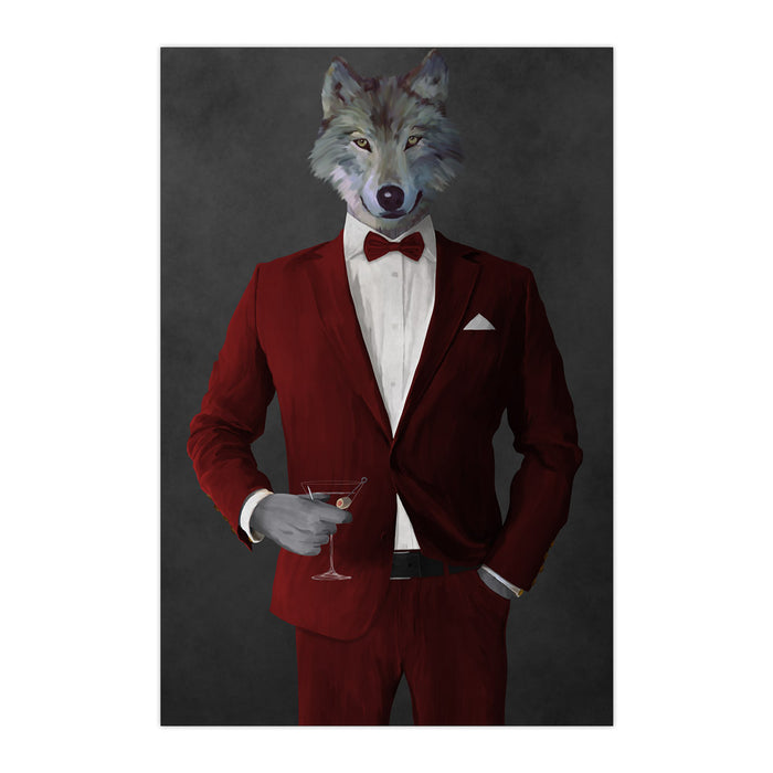 Wolf drinking martini wearing red suit large wall art print