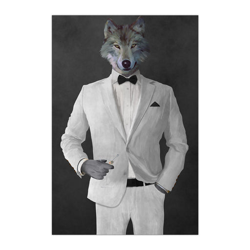 Wolf drinking martini wearing white suit large wall art print