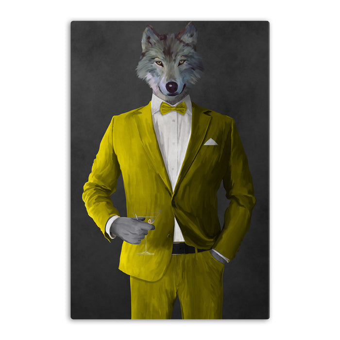 Wolf drinking martini wearing yellow suit canvas wall art
