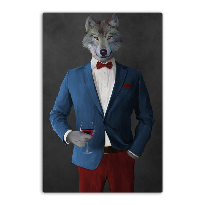 Wolf drinking red wine wearing blue and red suit canvas wall art