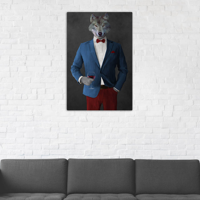 Wolf Drinking Red Wine Wall Art - Blue and Red Suit