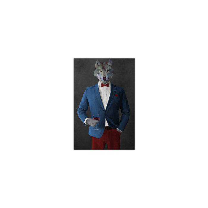 Wolf drinking red wine wearing blue and red suit small wall art print