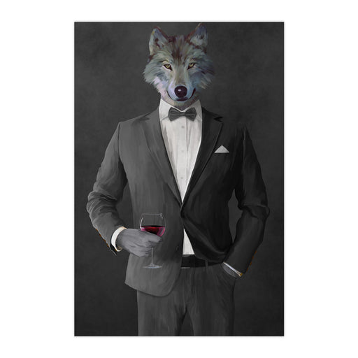 Wolf drinking red wine wearing gray suit large wall art print