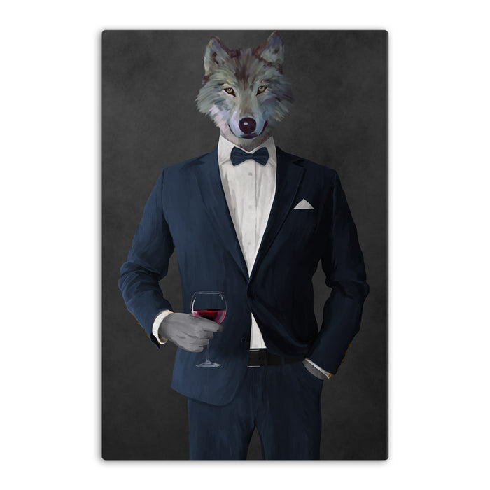 Wolf drinking red wine wearing navy suit canvas wall art