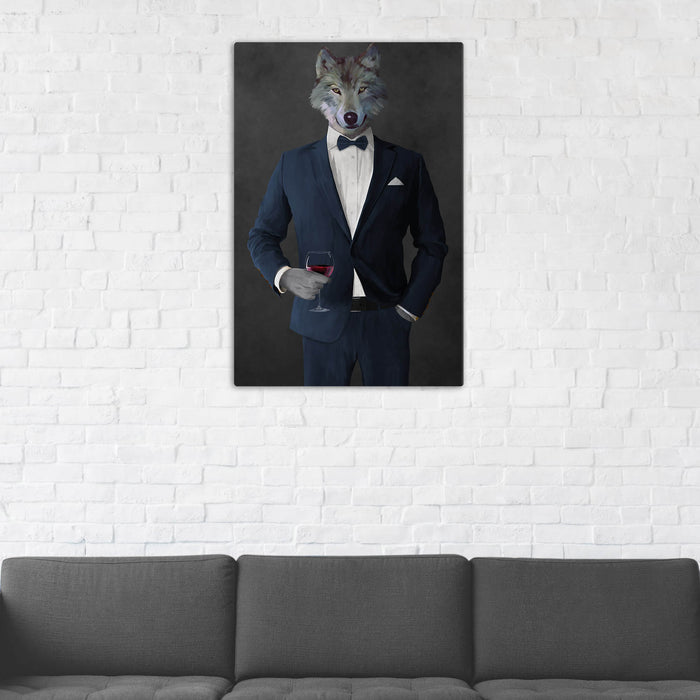 Wolf Drinking Red Wine Wall Art - Navy Suit