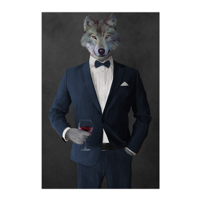Wolf drinking red wine wearing navy suit large wall art print