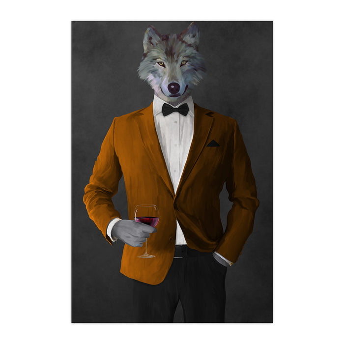 Wolf drinking red wine wearing orange and black suit large wall art print