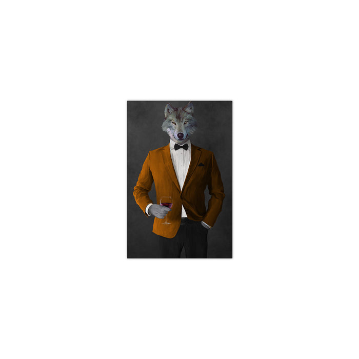 Wolf drinking red wine wearing orange and black suit small wall art print