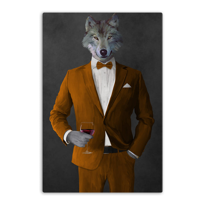 Wolf drinking red wine wearing orange suit canvas wall art