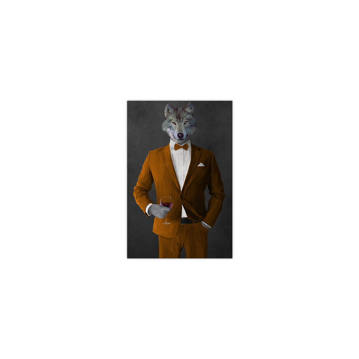 Wolf drinking red wine wearing orange suit small wall art print