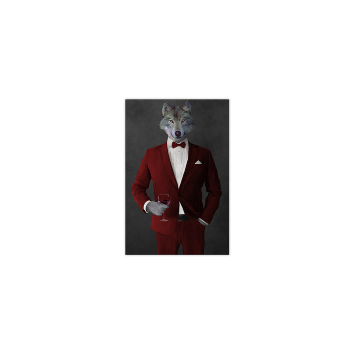 Wolf drinking red wine wearing red suit small wall art print