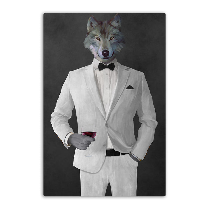 Wolf drinking red wine wearing white suit canvas wall art