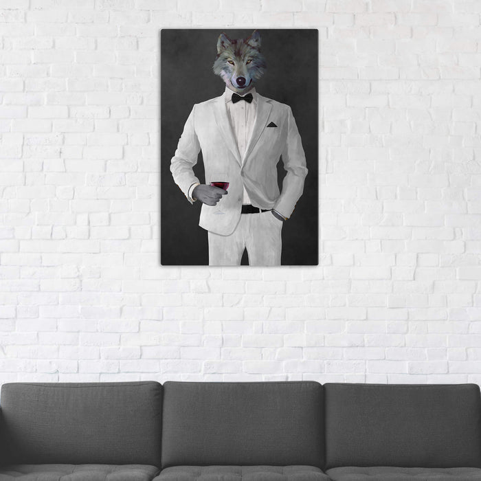Wolf Drinking Red Wine Wall Art - White Suit