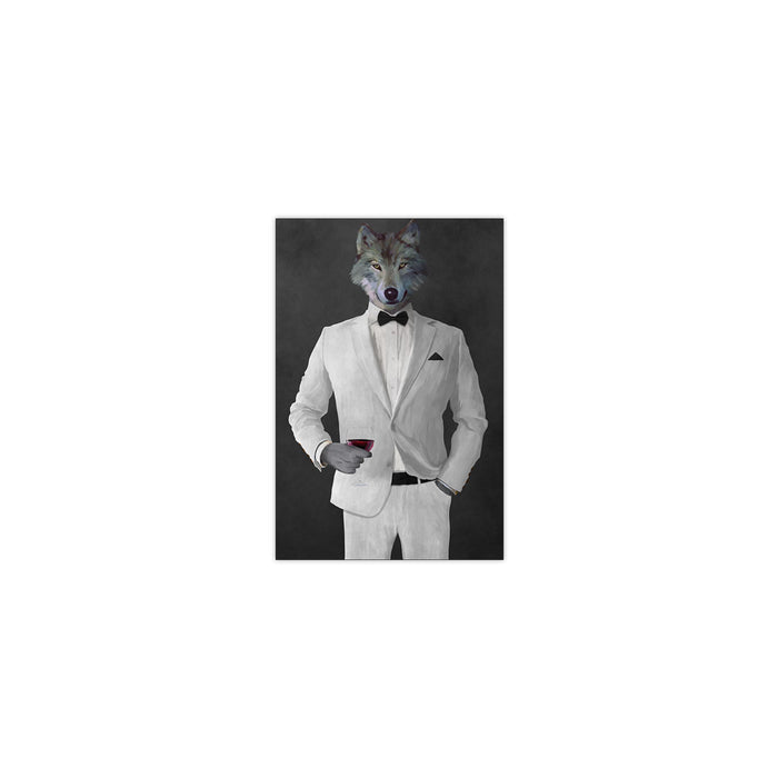Wolf drinking red wine wearing white suit small wall art print