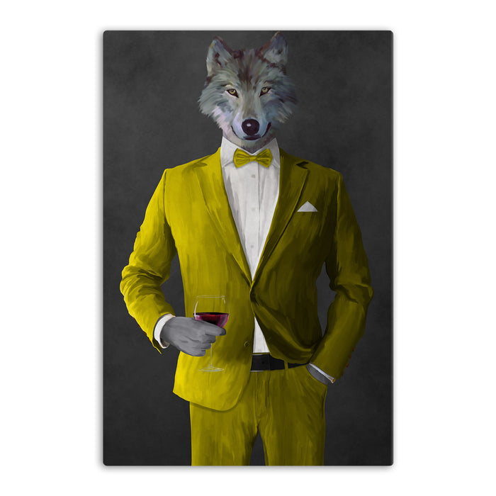 Wolf drinking red wine wearing yellow suit canvas wall art