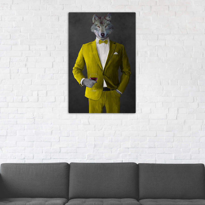 Wolf Drinking Red Wine Wall Art - Yellow Suit