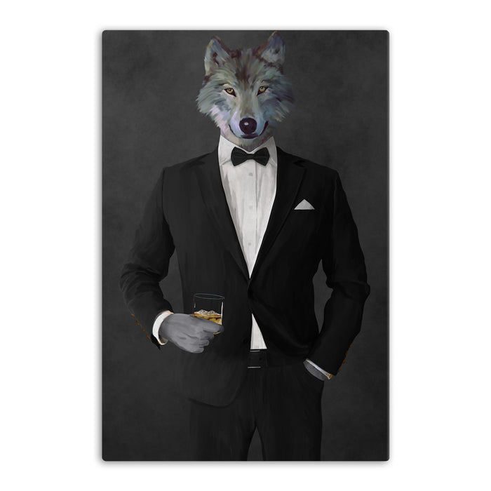 Wolf drinking whiskey wearing black suit canvas wall art