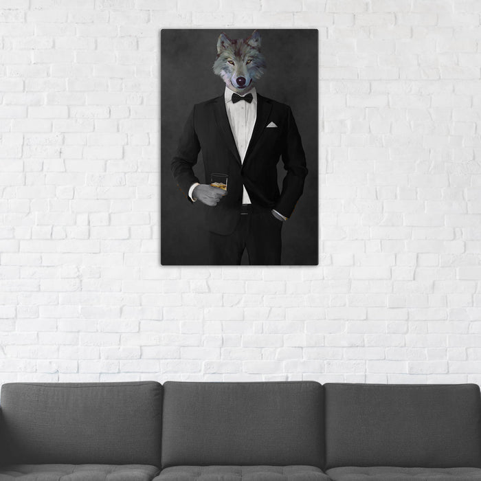 Wolf Drinking Whiskey Wall Art - Black Suit