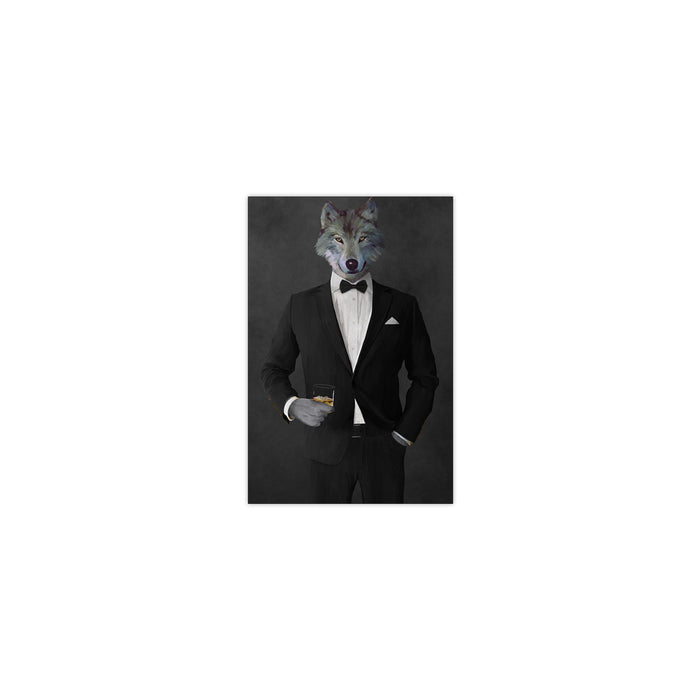 Wolf drinking whiskey wearing black suit small wall art print
