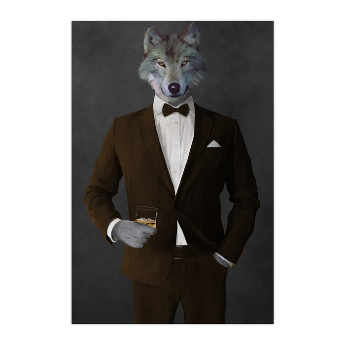 Wolf drinking whiskey wearing brown suit large wall art print