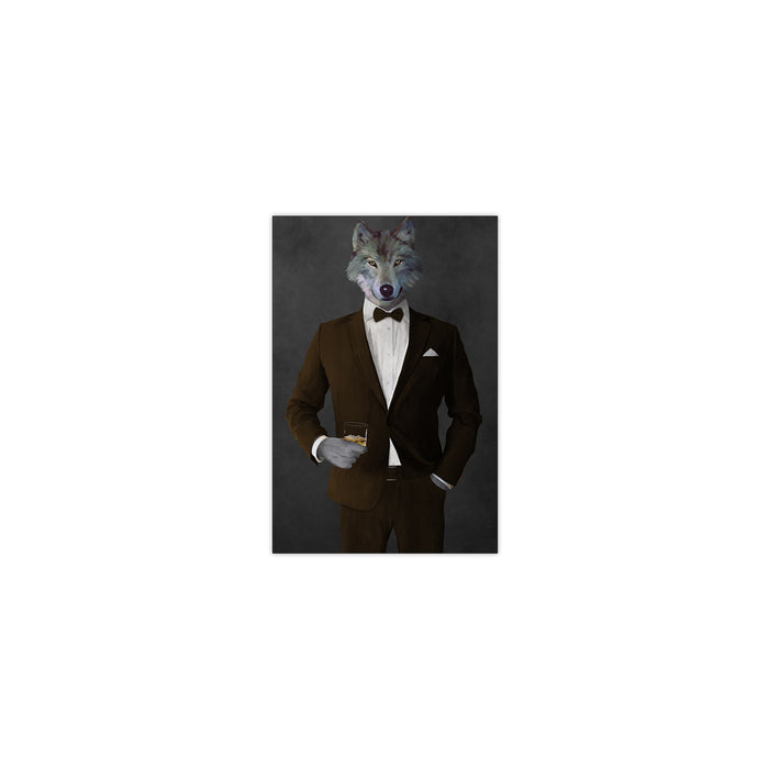 Wolf drinking whiskey wearing brown suit small wall art print