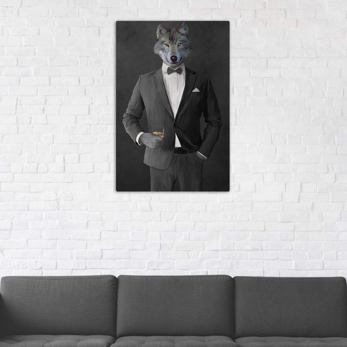 Wolf Drinking Whiskey Wall Art - Gray Suit