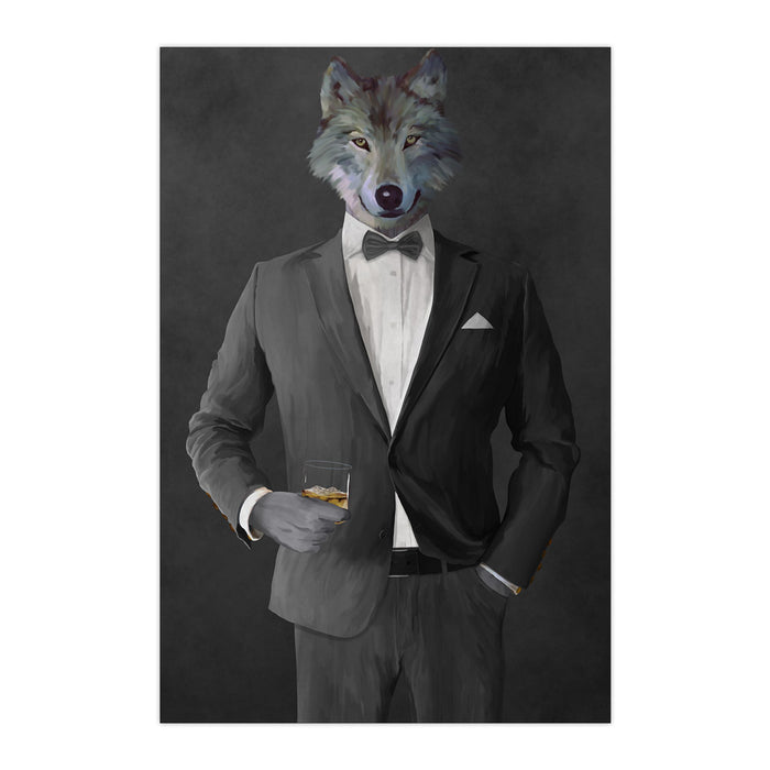 Wolf drinking whiskey wearing gray suit large wall art print
