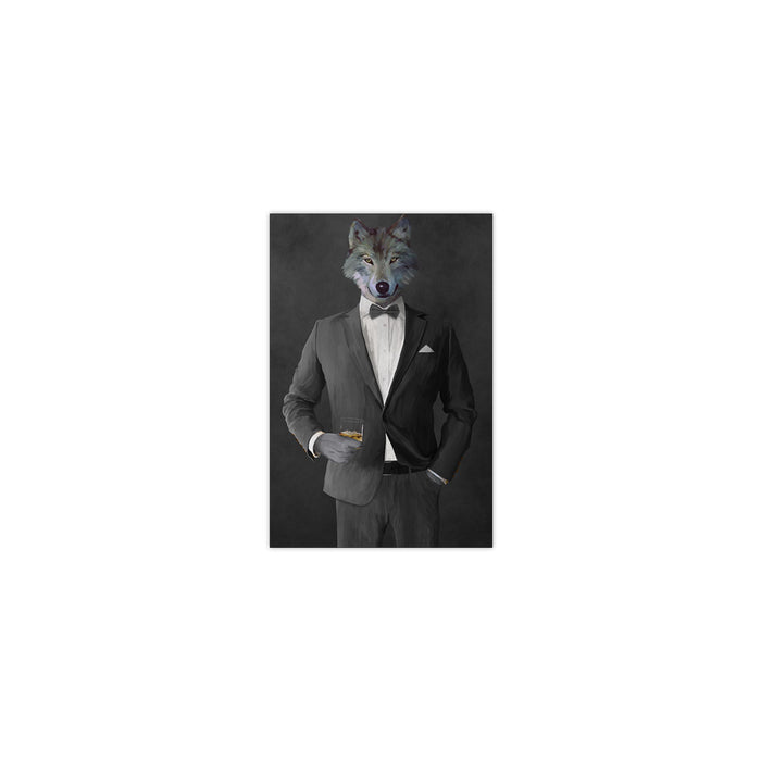 Wolf drinking whiskey wearing gray suit small wall art print