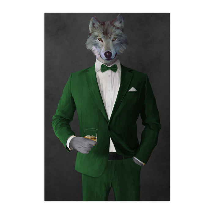 Wolf drinking whiskey wearing green suit large wall art print