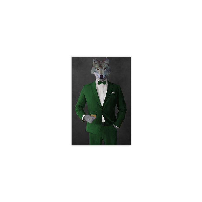Wolf drinking whiskey wearing green suit small wall art print