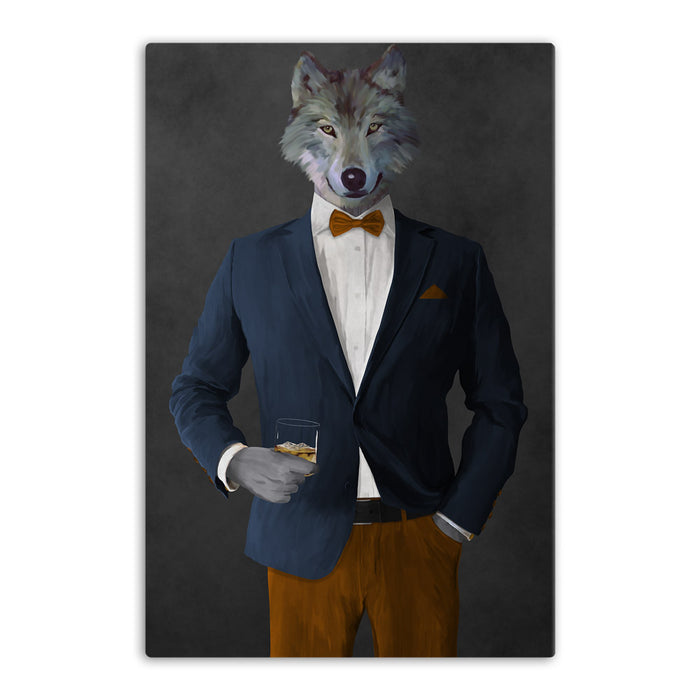 Wolf drinking whiskey wearing navy and orange suit canvas wall art