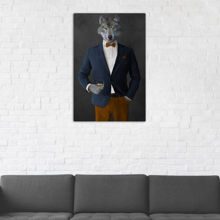 Wolf Drinking Whiskey Wall Art - Navy and Orange Suit