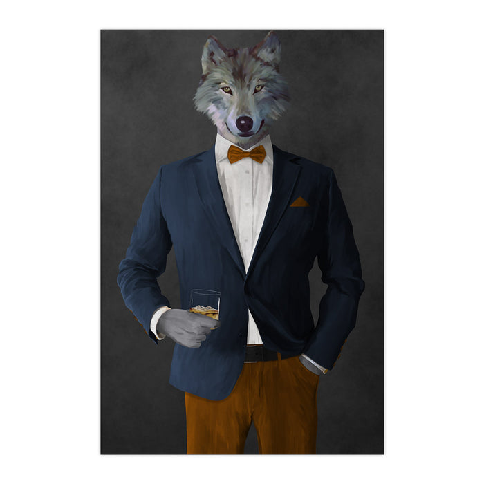 Wolf drinking whiskey wearing navy and orange suit large wall art print