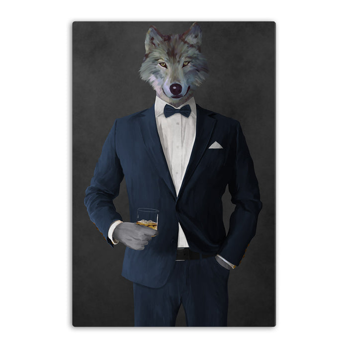 Wolf drinking whiskey wearing navy suit canvas wall art