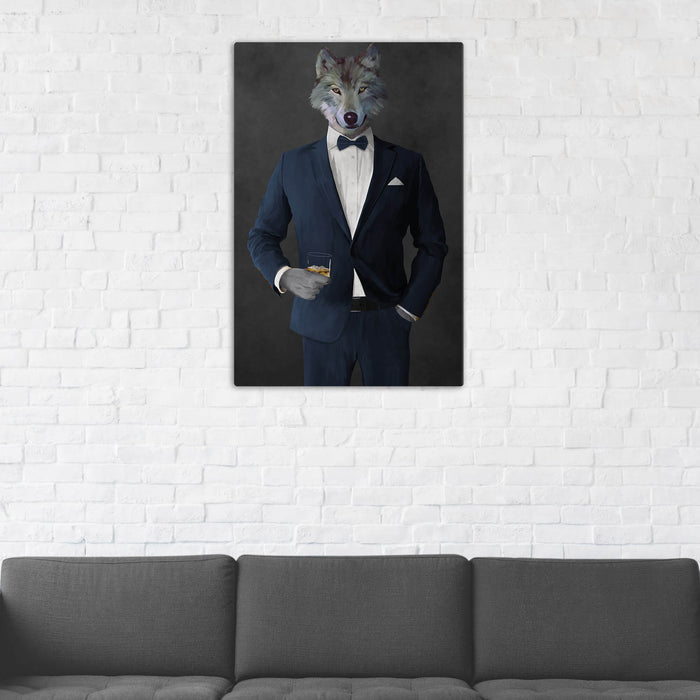 Wolf Drinking Whiskey Wall Art - Navy Suit