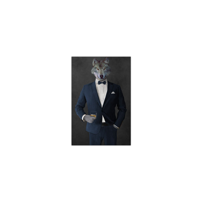 Wolf drinking whiskey wearing navy suit small wall art print