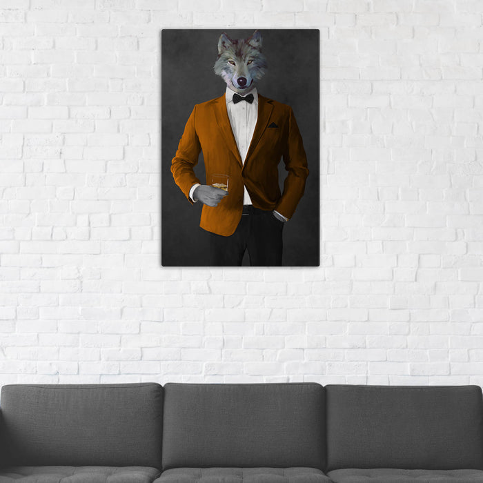 Wolf Drinking Whiskey Wall Art - Orange and Black Suit