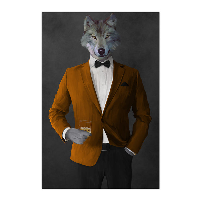 Wolf drinking whiskey wearing orange and black suit large wall art print