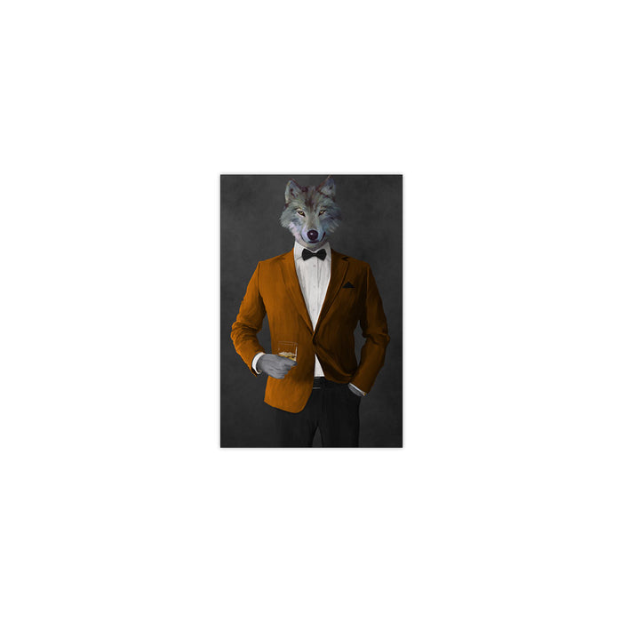 Wolf drinking whiskey wearing orange and black suit small wall art print