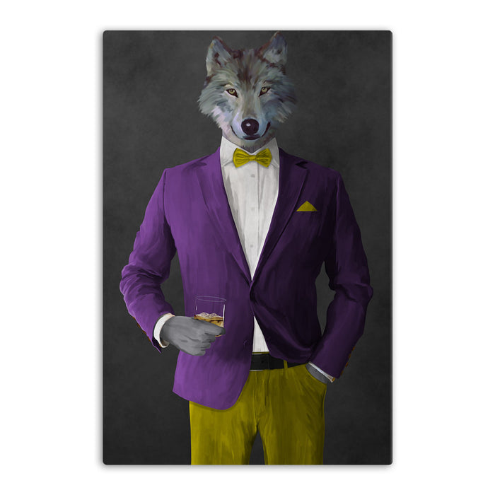 Wolf drinking whiskey wearing purple and yellow suit canvas wall art