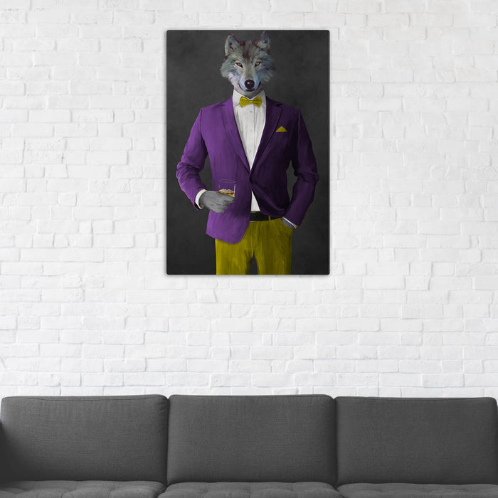 Wolf Drinking Whiskey Wall Art - Purple and Yellow Suit