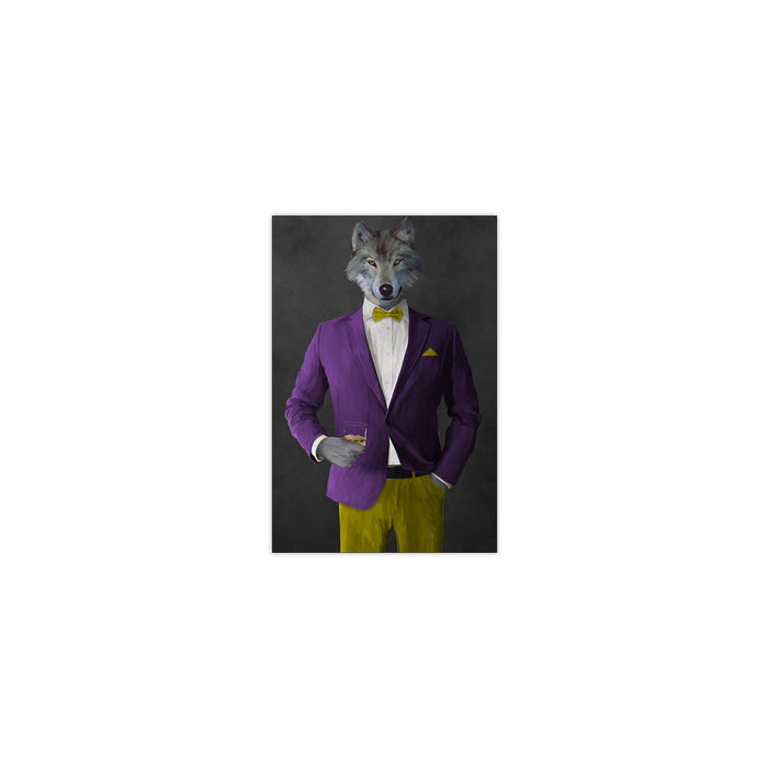 Wolf drinking whiskey wearing purple and yellow suit small wall art print