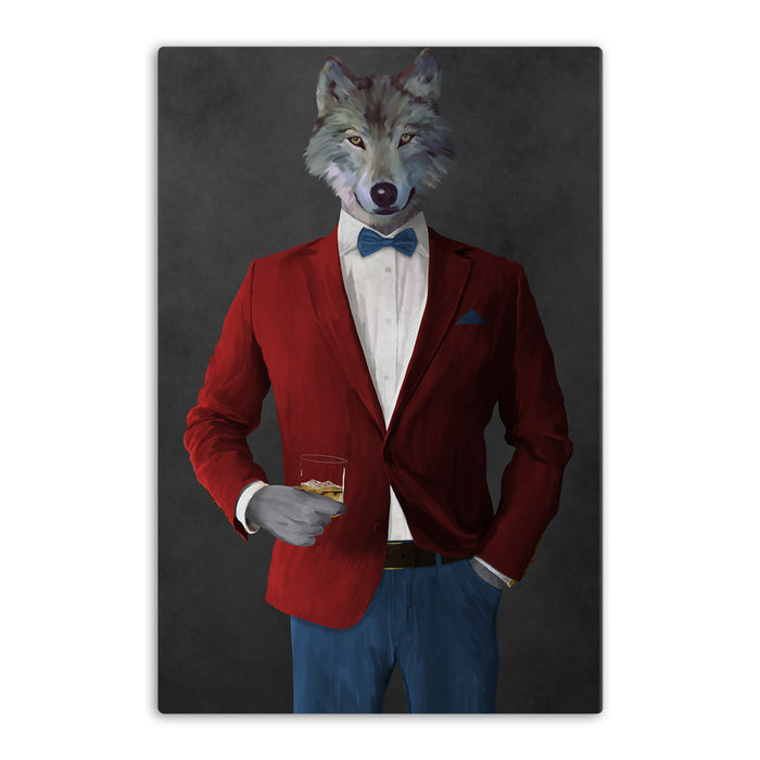 Wolf drinking whiskey wearing red and blue suit canvas wall art