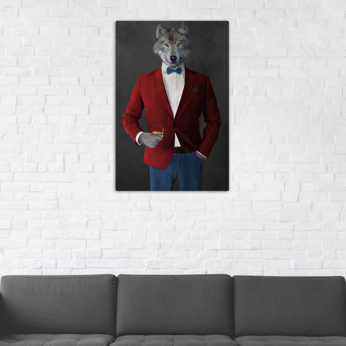 Wolf Drinking Whiskey Wall Art - Red and Blue Suit